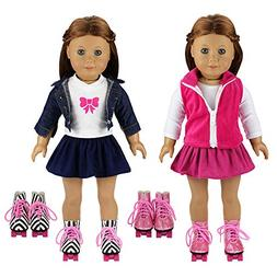 BARWA 2 Sets Doll Clothes and 2 Pairs Ice Skates Boots Shoes