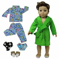 2 Sets Pajamas Bathrobe with 2 Underpants and 1 Slippers Sho