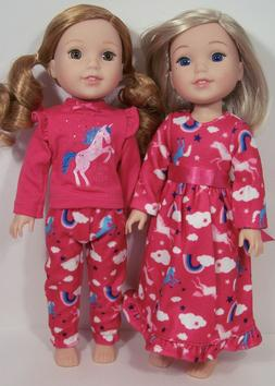 2 sets UNICORN Pjs &Nightgown Doll Clothes For 14 AG Wellie