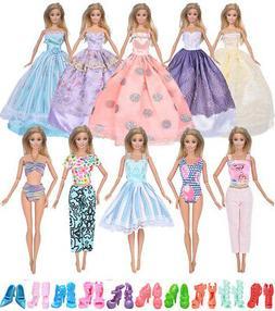 ebuddy 20pcs/Set Doll Clothes Include 6pc Random Style Princ