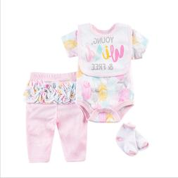 22-24'' toddler baby doll 3-sets pink clothes clothing newbo