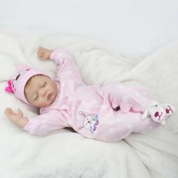 """22"""" Reborn Dolls Baby Girl Silicone doll+Clothes+Dummy Lifel"""