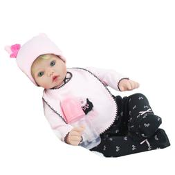 22'' Reborn Newborn Dolls Lifelike Blonde Wig Vinyl Silicone