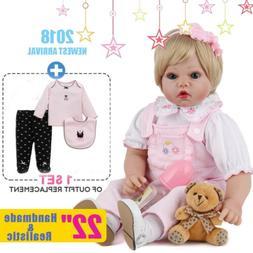 22'' Vinyl Silicone Reborn Baby Doll Newborn Girl Toddler Do