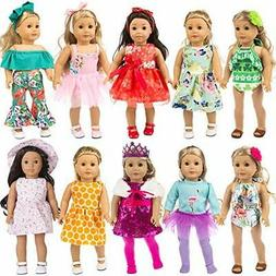 ZITA ELEMENT 24 Pcs Girl Doll Clothes Dress for American 18