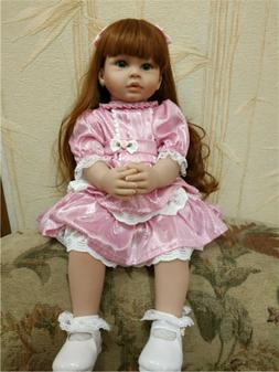 """24"""" Reborn Dolls Pinky Clothes Lifelike Baby Soft Silicone R"""