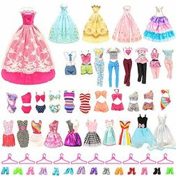 BARWA 26 Pack Doll Clothes and Accessories 5 PCS Fashion Dre
