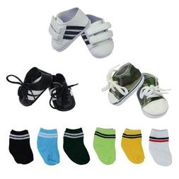 ZITA ELEMENT 3 Pairs Doll Shoes + 6 Socks for 18 inch Boy Do