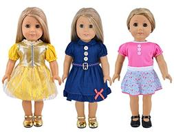 Ebuddy 3-sets Doll Clothes Party Dress Clothes For 18 inch A