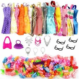 32 Item/Set Doll Accessories=10 Pcs Doll Clothes Dress+4 Gla