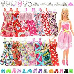 BARWA 32 pcs Barbi Doll Clothes and Accessories 10 pcs Party