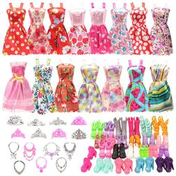 BARWA 32 pcs Doll Clothes and Accessories 10 pcs Party Dress
