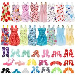 36PCS 12inch Doll Clothes & Doll Shoes Party Gown Outfit Acc