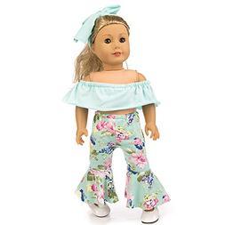 Lavany 3pcs Doll Clothes Set Off Shoulder Tops Pants for 18