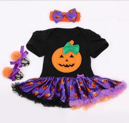 "3pcs/set Halloween pumpkin dress set Romper for 20-22"" Rebor"