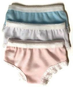 3pk Panties-Blue,White,Pink for 18 inch American Girl Doll C