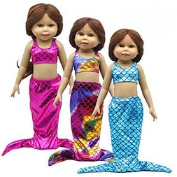 3set Little Mermaid Tail Costume Outfit Doll Clothes for 18""