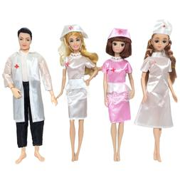 4 Set <font><b>Doll</b></font> Toy Nurse And Doctor Career A