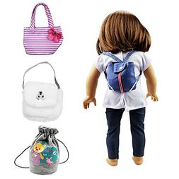 XADP 4 Sets 18 Inch Doll Accessories Doll Backpack Fits Amer