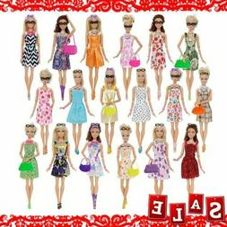 42 Pcs/ Lot Doll Clothes Gown Dress For Barbie Fashion Outfi