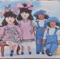 """Butterick 4424 TWIN DOLLS 16½"""" Rag Doll Clothes Pattern & T"""