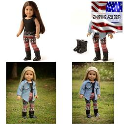 4pc doll clothes denim jacket tank top