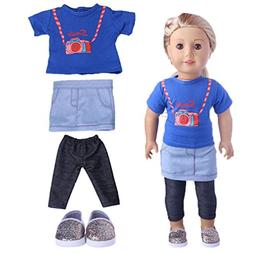 4pcs Top + Skirt + Leggings + Shoes Doll clothes for 18 inch