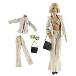 4pcs/Set Doll Fashion Party Clothes Underwear+Top+Pants+Purs