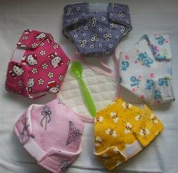 5 BABY DOLL CLOTH DIAPERS BIRD BEE FLOWER CAT TIARA FIT SOME