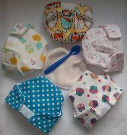 5 BABY DOLL CLOTH DIAPERS DUCK BABY DOT PUPPY CUPCAKES FIT S