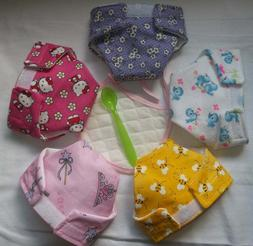 5 LARGE CLOTH DOLL DIAPERS BEE BIRD TIARA CAT FOR BABY ALIVE