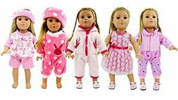 AOFUL 5 Lots Bitty Baby Doll Dress Clothes, Fashion Bunny Pi