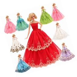 BARWA 5 Pcs Handmade Doll Clothes Wedding Gowns Party Dresse