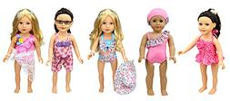 XADP 5 Sets American Girl Summer Doll Clothes Hawaii Holiday