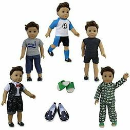 ZITA ELEMENT 5 Sets Boy Doll Clothes with 2 Shoes for American 18 Inch Boy