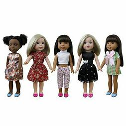 ZITA ELEMENT 5 Sets Doll Clothes Dresses for American 14.5 I