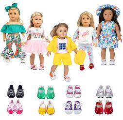 ebuddy 5 Sets Doll Clothes with 2 Pairs Random Style Shoes f