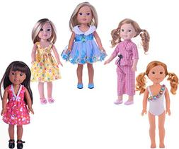 XADP 5 Sets Doll Clothes Dresses Clothing for 14 Inch and 14