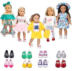 ebuddy 5 Sets Doll Clothes with 2 Pairs Shoes,Hat,Hair Band