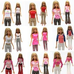 5 Sets Handmade Blouse with Trousers Pants for Barbie Doll B