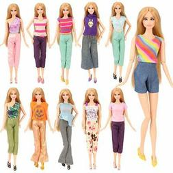 Barwa 5 Sets Handmade Blouse with Trousers Pants for Barbie