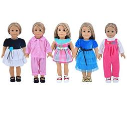 Ebuddy 5-sets Ramdon Style Doll Clothes Party Dress Clothes