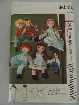 """5714 Simplicity Pattern 15"""" 24"""" Rag Doll & Clothes transfer"""