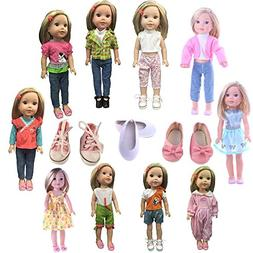 Luckdoll 5sets clothes and 3 pairs shoes, Fits 14 inch Doll