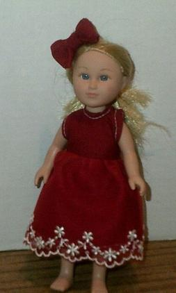 """6-7/"""" Doll Clothes-fit Mini American Girl My Life-2 Dress-Sleeves-Green//Blue Dots"""