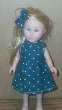 "6-7/"" Doll Clothes-fit Mini American Girl My Life-2 Dress-Sleeves-Green//Blue Dots"