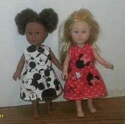 "6//6.5/"" Doll Clothes-fit Mini American Girl My Life-2 Dresses-Fl Tiny Cats"