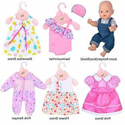 ebuddy 6 Sets Doll Clothes Outfits for 43cm New Born Baby Do