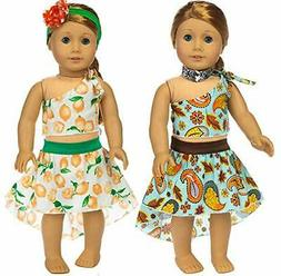 ebuddy 6pc/Set Doll Clothes Accessories Include Top Skirt an