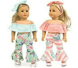 Ebuddy 6pc/Set Doll Clothes Off-shoulder Top Bell-Bottom Pan